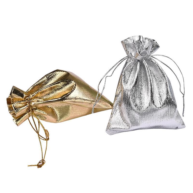 10 Teile/los 7x9 9x12 13x18 Cm Organza Drawable Taschen Silber Gold Glänzende Schmuck Verpackung Taschen Weihnachten Geschenk Beutel Diy Handmand Duftendes Aroma