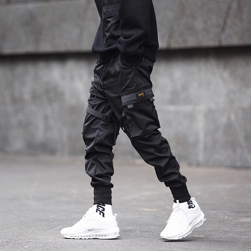 Men Ribbons Patchwork Multi Pockets Hip Hop Cargo Pants Black Tactical Pants Mens Casual Slim Joggers Hiphop Punk Trousers