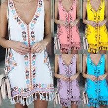 2019 summer women's large size dress loose A-line hem dress fringed national style print dress