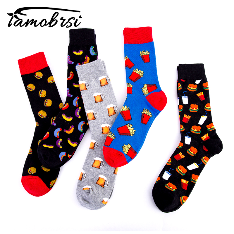 Cool Beer French Fries Drinks Gourmet Creativity Pattern Happy Crew Burger Street Skate Socks Cotton Short Funny Women Men Socks
