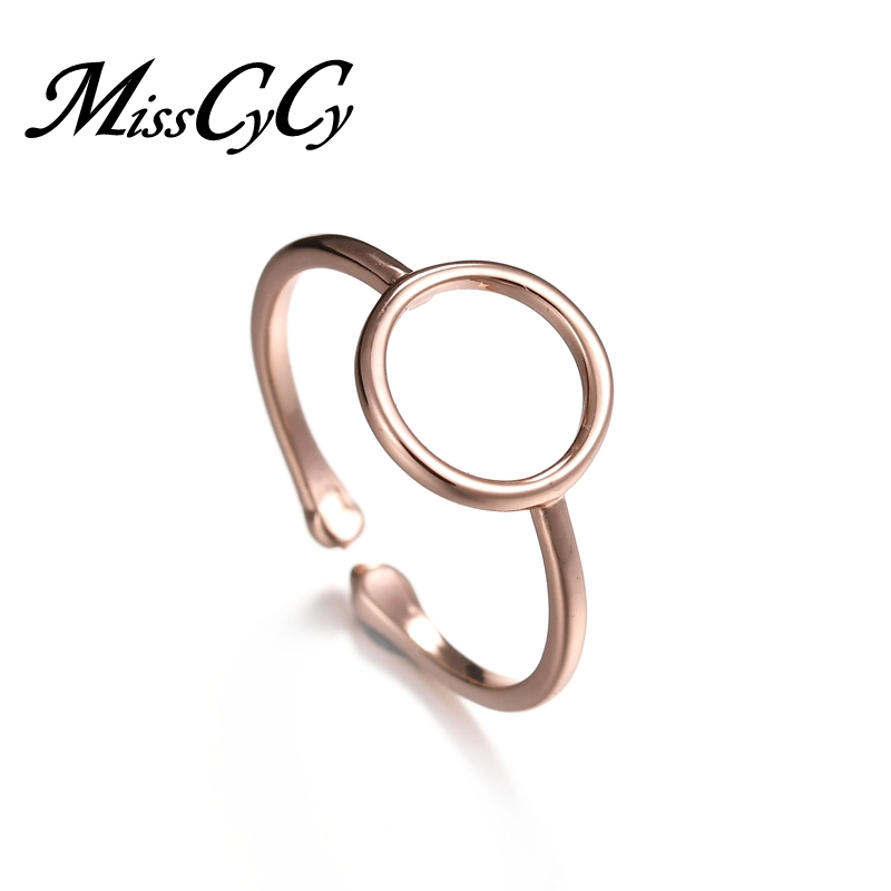 MissCyCy Simple Style Rose Gold Color Circle Rings for Women Adjustable Ring Female Jewelry Dropshipping