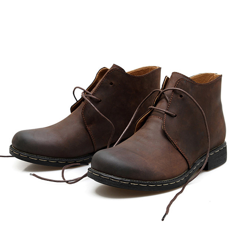 British Vintage Genuine Leather Boots Men Brown Leather Martin Boots For Man Autumn Winter WaterProof Work Ankle Boots Shoes