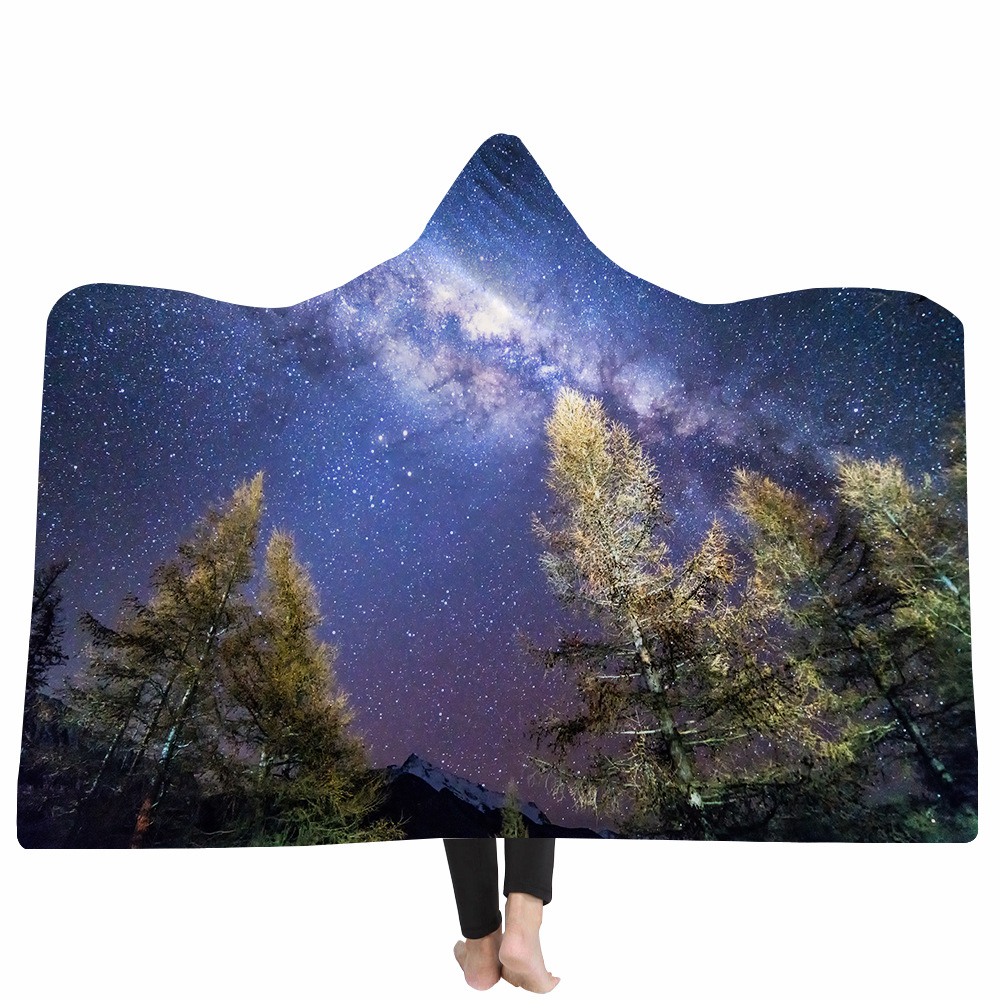 Yoga mat Hooded Blanket Cloak Magic Hat Blanket Thick Double layer Plush 3D Digital Printing Landscape Series in Blankets from Home Garden