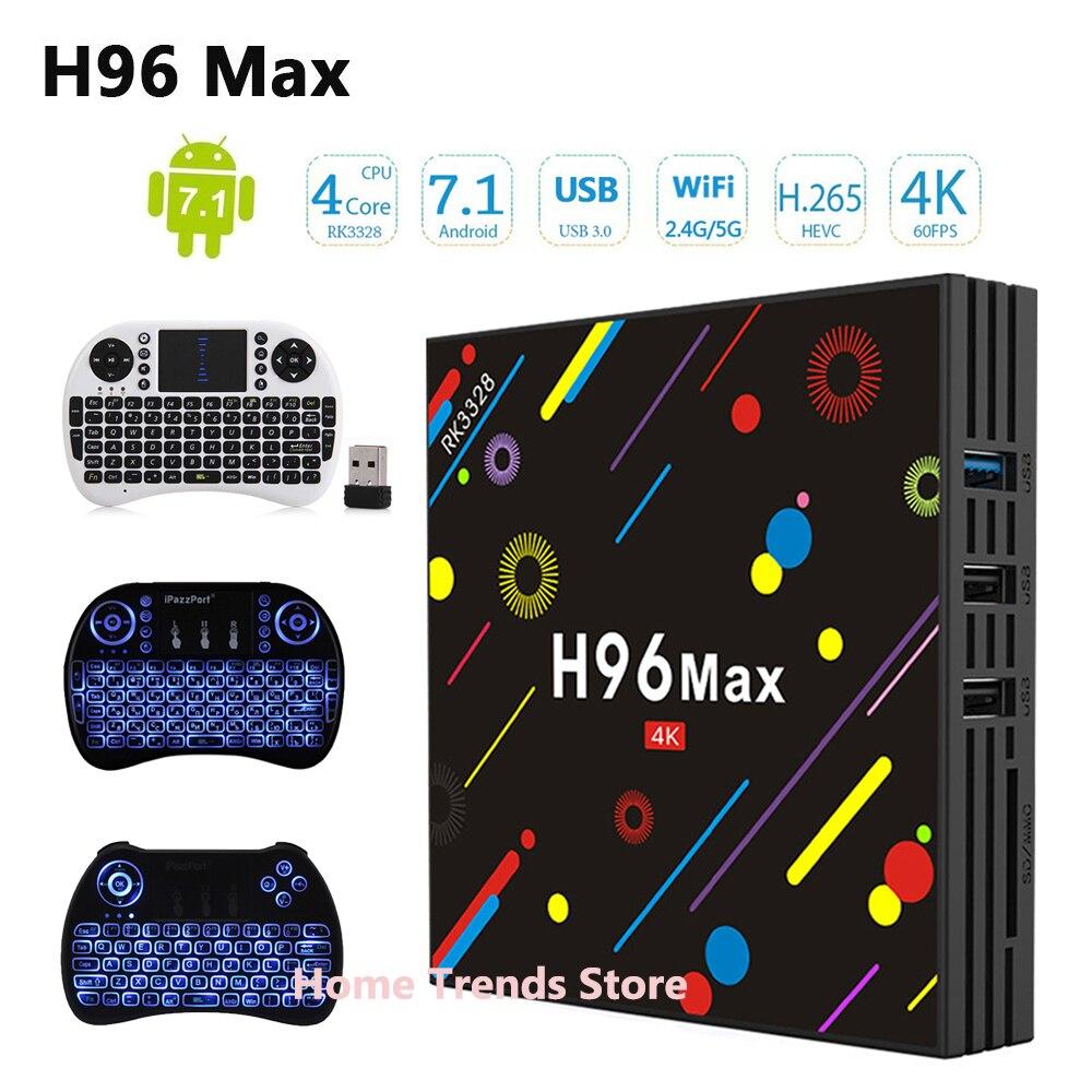 H96 MAX H1 Android 7.1 TV Box update to H96 Max H2 4G 32G Set Top Box RK3328 Wifi Bluetooth 4K H.265 Media Player pk h96 pro цена