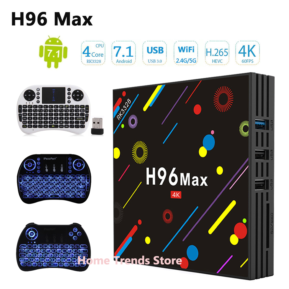 H96 MAX H1 Android 7,1 ТВ Box обновление к H96 Max H2 4G 32 г Декодер каналов кабельного телевидения RK3328 Wi-Fi Bluetooth 4 К H.265 Media Player pk h96 pro