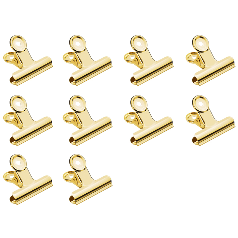 10 Pcs Gold Small Metal Hinge Clips Paper Clip Clamps Stationary Money File Binder Clips For Pictures, Photos, Snack Packaging