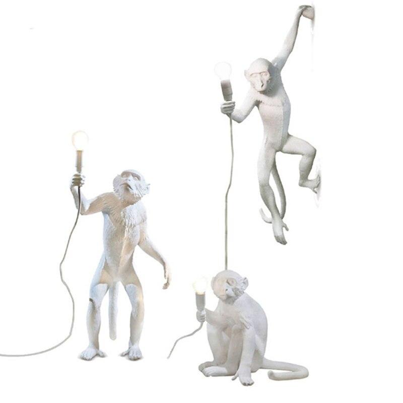 Modern Criativo Resina Macaco Branco Lâmpada Sótão Vindima Luz Pingente Corda de Cânhamo para Home Bar Cafe Retro Pendurado luminária