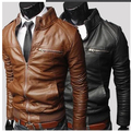 2017 New Men's Suit PU Leather Jacket Man Products Mens Fashion Transverse Slim Leather Jackets For Men 3 Color Plus Size M-XXXL