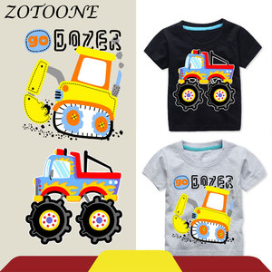 ZOTOONE Car Excavator Heart Iron on Transfers Patch for Clothing Dress Thermo Stickers Patches Applique Sticker on Clothes E