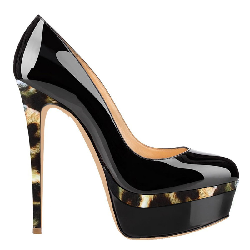 Onlymaker Pumps Shoes Women's 16cm Thin High Heels  Comfortable  Platform Sexy Stilettos Patent Leather Party Dressing Shoes Plu-in Women's Pumps from Shoes    3