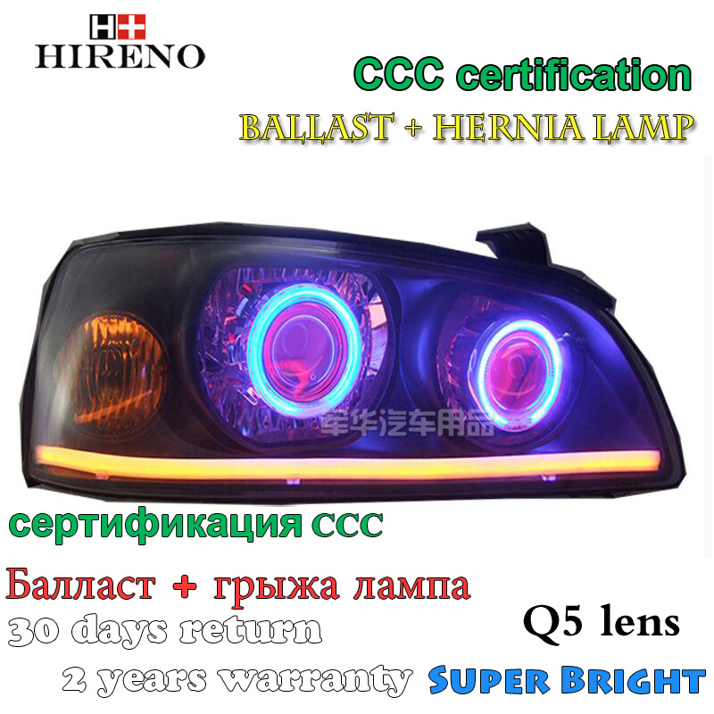 Hireno Modified Headlamp for Hyundai Elantra 2004-2010 Headlight Assembly Car styling Angel Lens Beam HID Xenon 2 pcs hireno headlamp for cadillac xt5 2016 2018 headlight headlight assembly led drl angel lens double beam hid xenon 2pcs