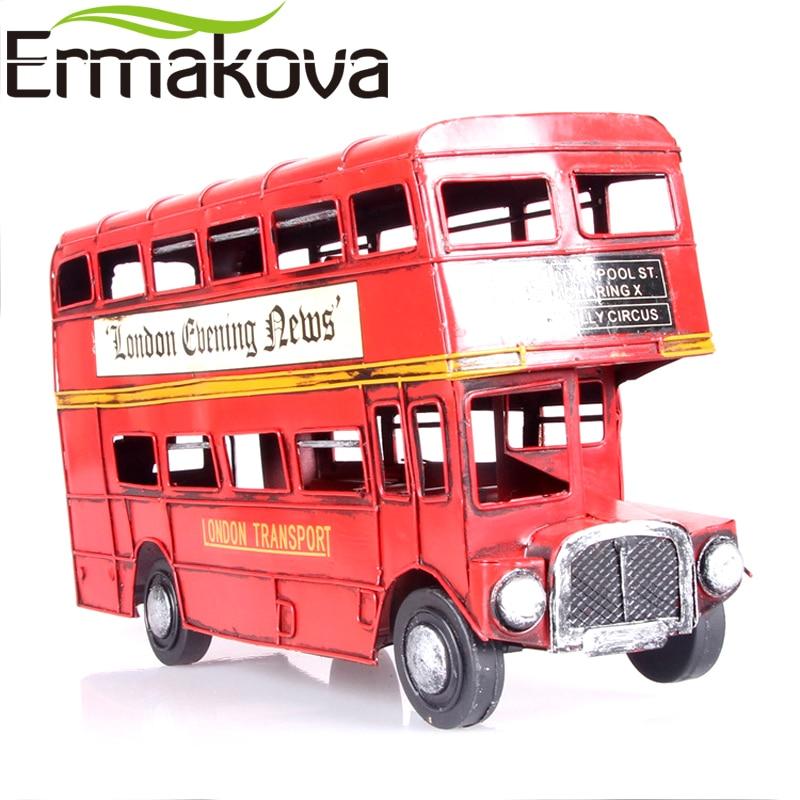 "ERMAKOVA 31cm (12,2 "") Vintage Double Decker Retro Velká Británie Anglie Londýn Autobus Figurka Routemaster Model Tour Socha Domácí dekorace"