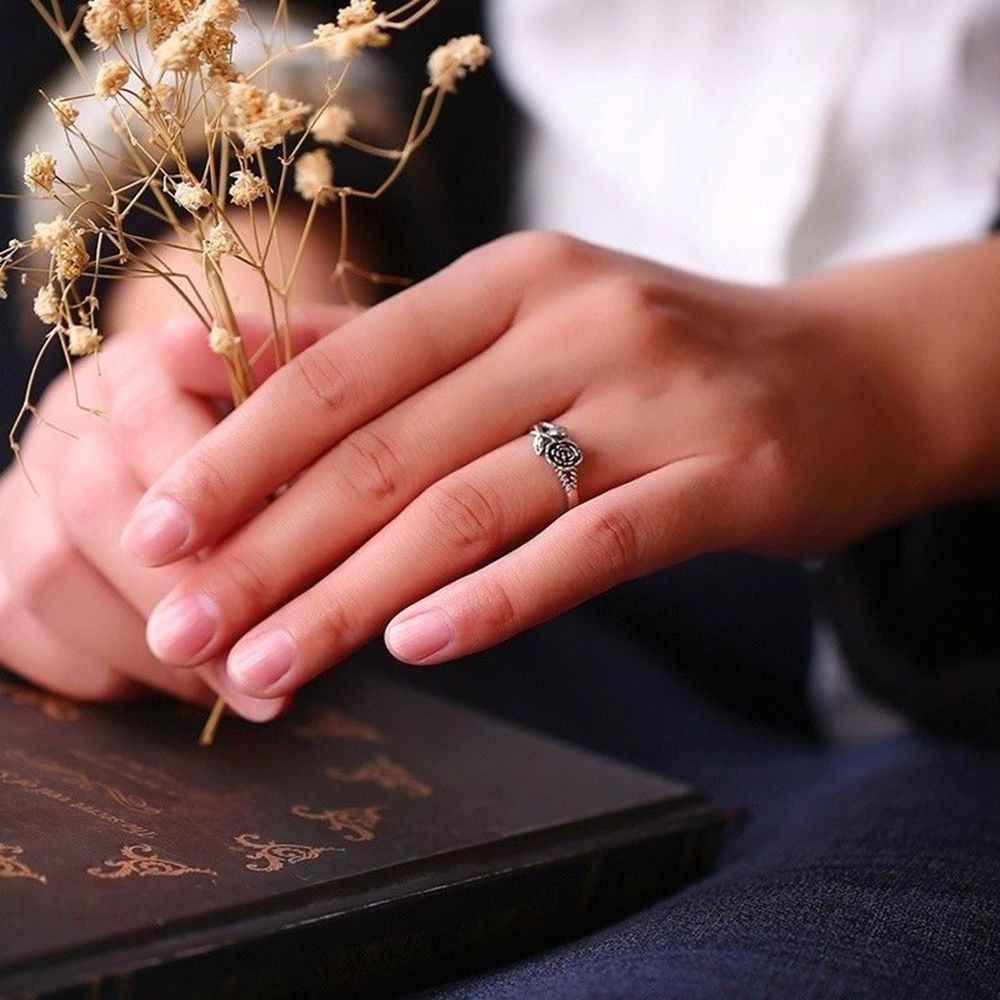 Nova chegada reto prata cor rosa flor anéis para mulheres amante presente de noivado romântico moda jóias presente planta flor anel