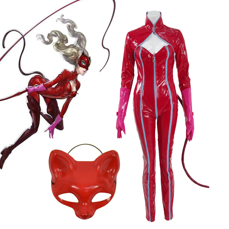 Cosplaydiy Persona 5 Ann Takamaki Phantom Thief Jumpsuit P5 Panther Red Costume Gloves Mask Suit Any Size L320