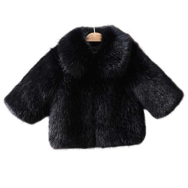 1-9T Fur Coats Girls Clothes High Quality Faux Fur Winter Jacket for Girl 2018 Winter Keep Warm Outerwear & Coats