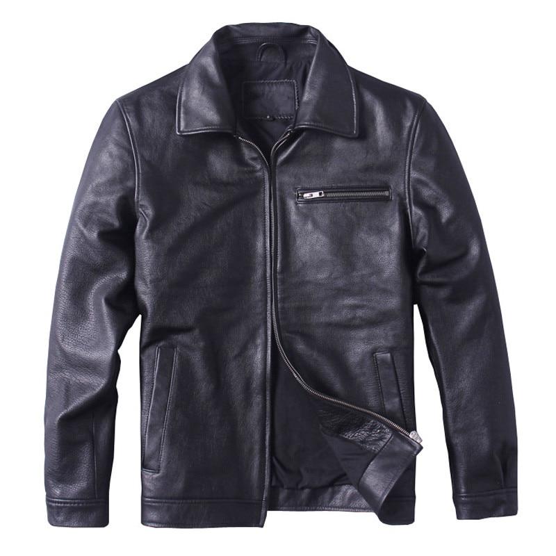 HARLEY DAMSON Uomo Nero Smart Casual Giacca di Pelle Plus Size XXXXL Cappotto di Cuoio Reale Della Pelle Bovina Inverno Russo Fabbrica Diretta