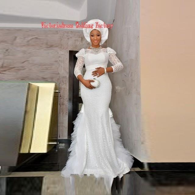 Robe De Soirée Dubai Africana Estilo Blanco Del Cordón Del Satén de La Sirena Vestidos de Noche Con Mangas Nigeriano Desgin Mujeres Vestidos Formales 2017