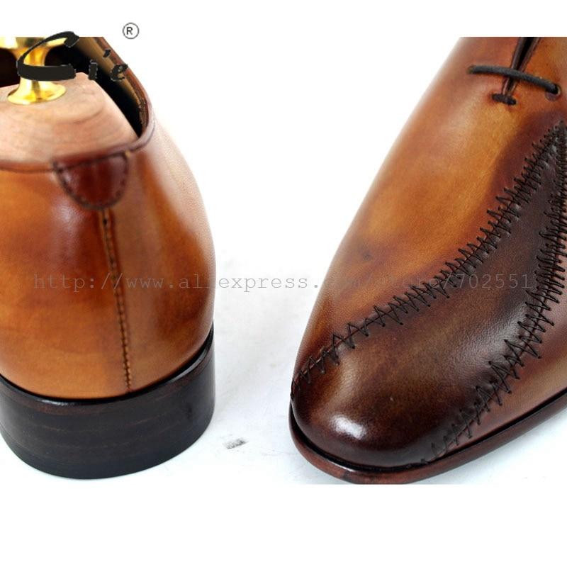 Cie Gratis Verzending Custom Bespoke Handgemaakte Echt Leer heren Oxford Patch Veter Schoen Kleur Bruin No. OX195 Mackay Craft - 5