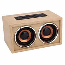 Portable Wooden Wireless Bluetooth Stereo Speaker Dual Horn Handsfree TF AUX Music player For Phone PC 14*9*7.5cm