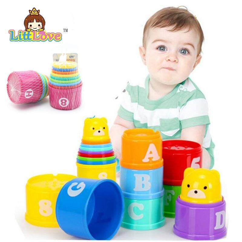 LittLove 9ks / sada dětské hračky Funny malá učební výuka Jenga pohár hračka blok hra Juguetes Educativos hračky pro děti