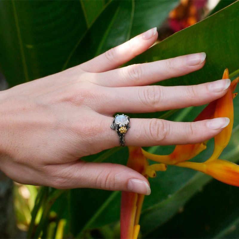 Melhor venda vintage retro folha de árvore natural pedra moonstone anel thai prata anéis para as mulheres noivado presente de jóias de natal