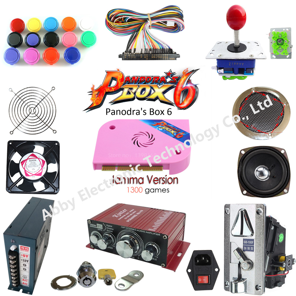 DIY arcade parts bundles kit with Pandora box 6 1300 in 1 joysticks buttons for arcade cabinet game machine in Coin Operated Games from Sports Entertainment
