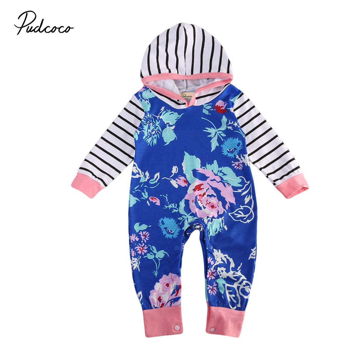 Newest Flower And Stripped Baby Infant Rompers Autumn Kids Girls Cotton Jumpsuit