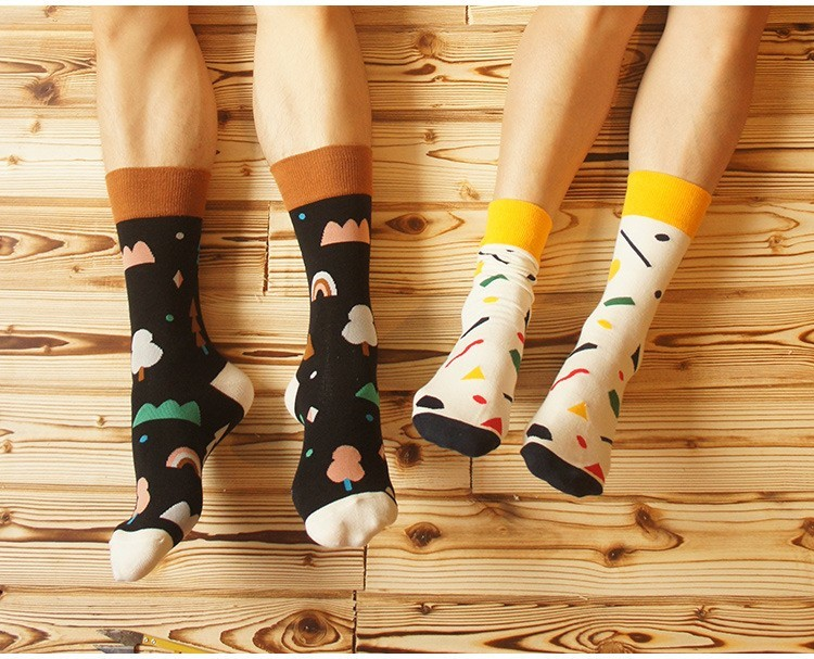 6 styles quality combed cotton autumn creative tide colorful countryside theme happy skateboard long brand men socks
