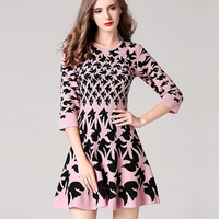 Europe 2017 Early Autumn New Women S Fashion Temperament Swallow Jacquard Waist Slim Knit Dress
