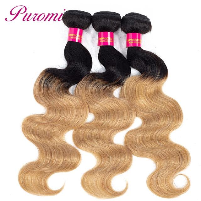 Puromi Hair Extension 3 Bundle Deals Brazilian Body Wave Human Hair Blonde Bundles #27 Tissage Bresiliens Hair Bundles Non Remy 1
