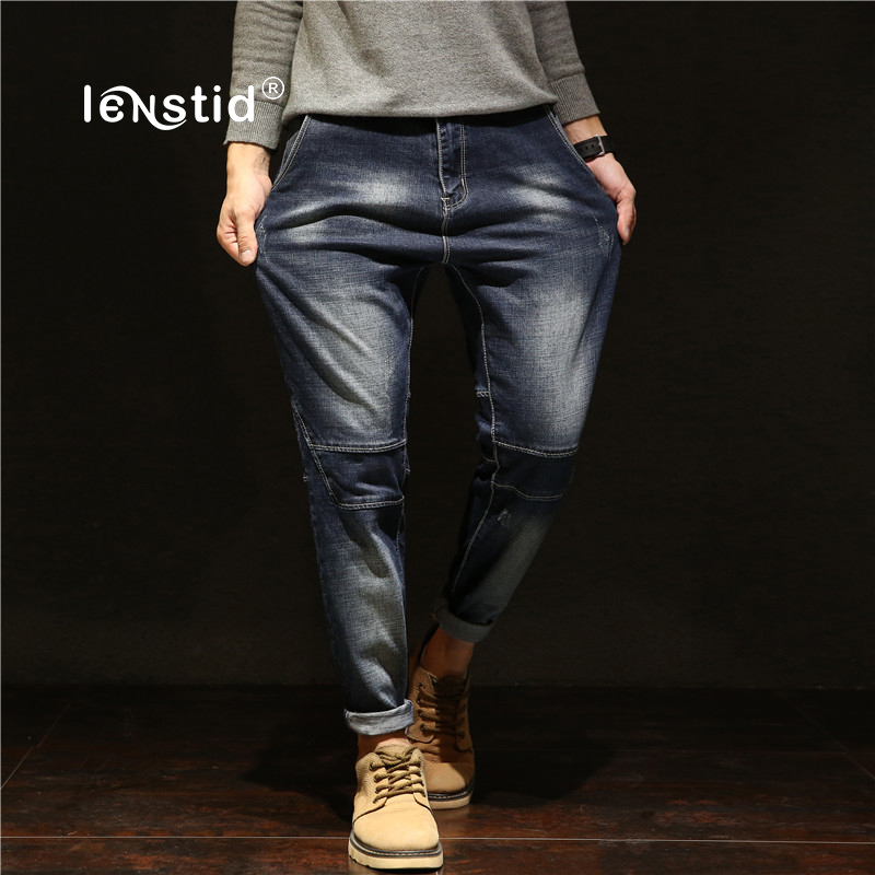 LENSTID Brand Men Japanese Style Patchwork Harem Jeans Blue Casual Denim Pants Mens Hip Hop Jeans Men Plus Size 38 40 42