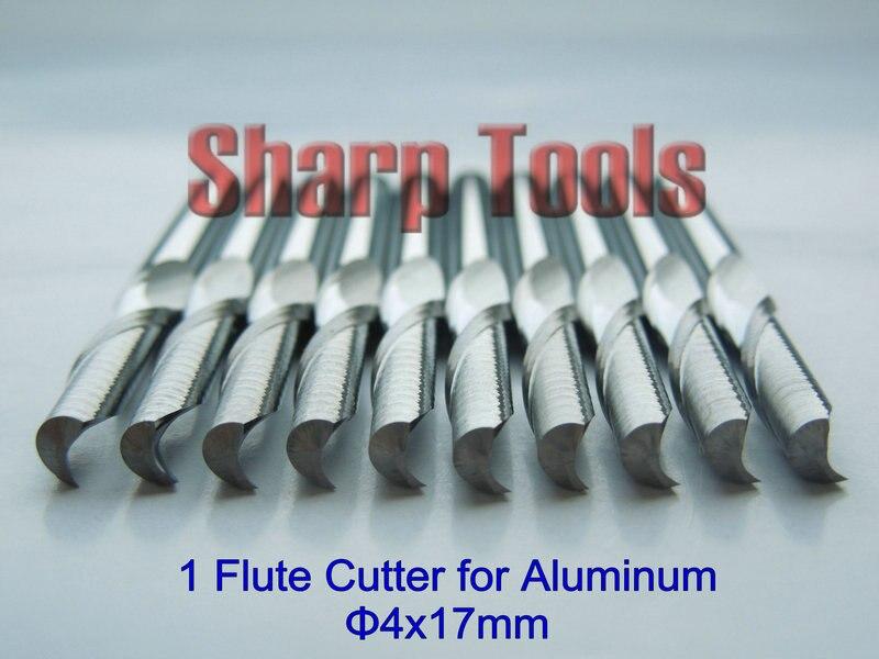 5pcs 4x17mm One Flute Spiral Milling Cutter Aluminum CNC Router Bits Tools