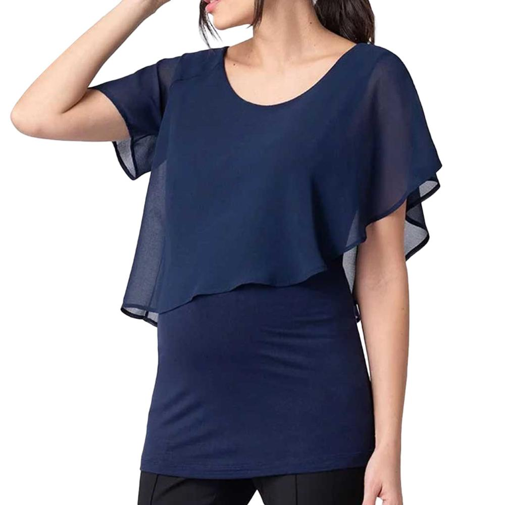 Summer Casual Maternity Shirts Chiffon Patchwork Pregnant Shirts with Breastfeeding Short Bell Sleeve Pregnancy Clothing Tops