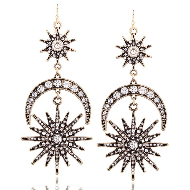 Big luxury Sun Moon Drop Earrings Rhinestone Punk Earrings for women Jewelry Golden boho vintage statement earrings 3