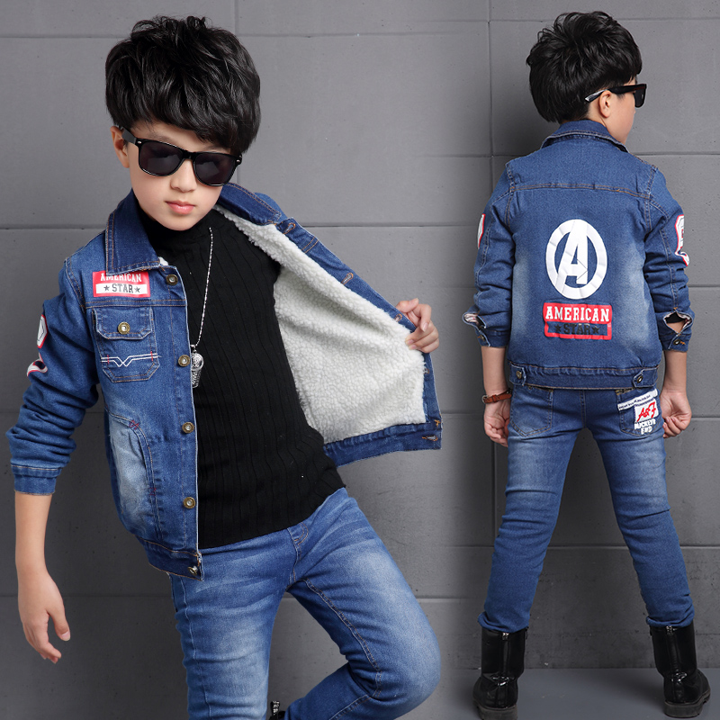 ФОТО New Fashion Running Man's Coat Boys Clothes For School Kids Designer High Quality Long-sleeved Boys Denim Jacket Spring/Autumn