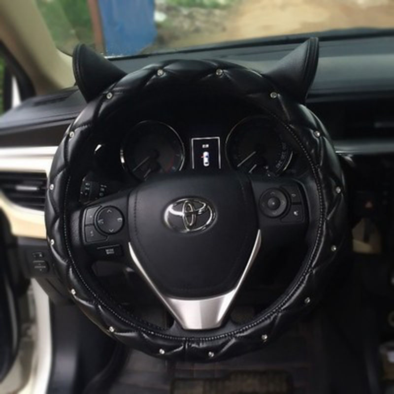 Cute Ear Design Leather Steering Wheel Cover Studded Rhinestone Covered Pink Car For Girls New In Covers From Automobiles