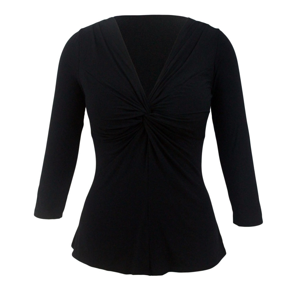 Womens Spring Autumn Sexy Brief Solid Night Club Sexy Lace Up Twist Front Sleeved V-Neck Top