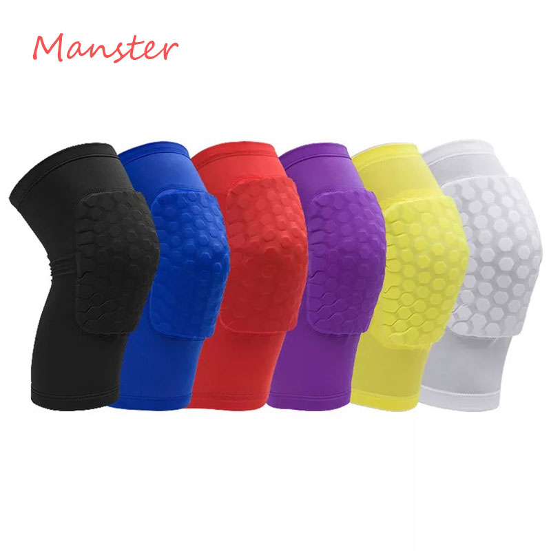 1 PCS Socks Honeycomb Gym Basketball Sports Knee Leg Support Brace Tape Guard Pads Brace Wrap Sleeve Protector Short Kneepad