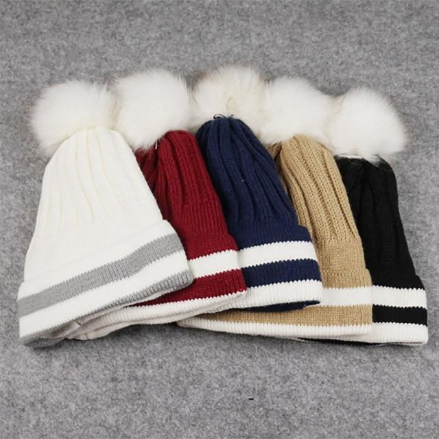 Осень Зима мода Леди плюс кашемир тепловой вязаная шапка сплошной цвет шар шерсть полосатый шляпа отбортовки крышки
