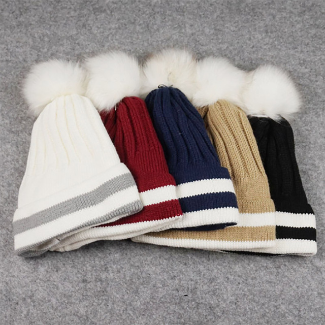 Autumn Winter fashion Lady plus cashmere thermal knitted hat solid color wool ball striped hat flanging cap