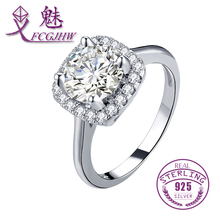 Classic Style Solid 925 Sterling Silver Solitaire Cushion Clear Zircon Finger Rings For Women Fine Jewelry FCGJHW