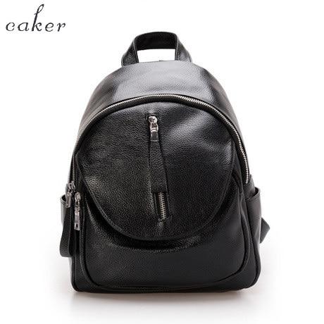Caker 2017 Women Preppy Style Casual PU Backpack Female Zipper Nylon School Shoulder Bag Grey Black