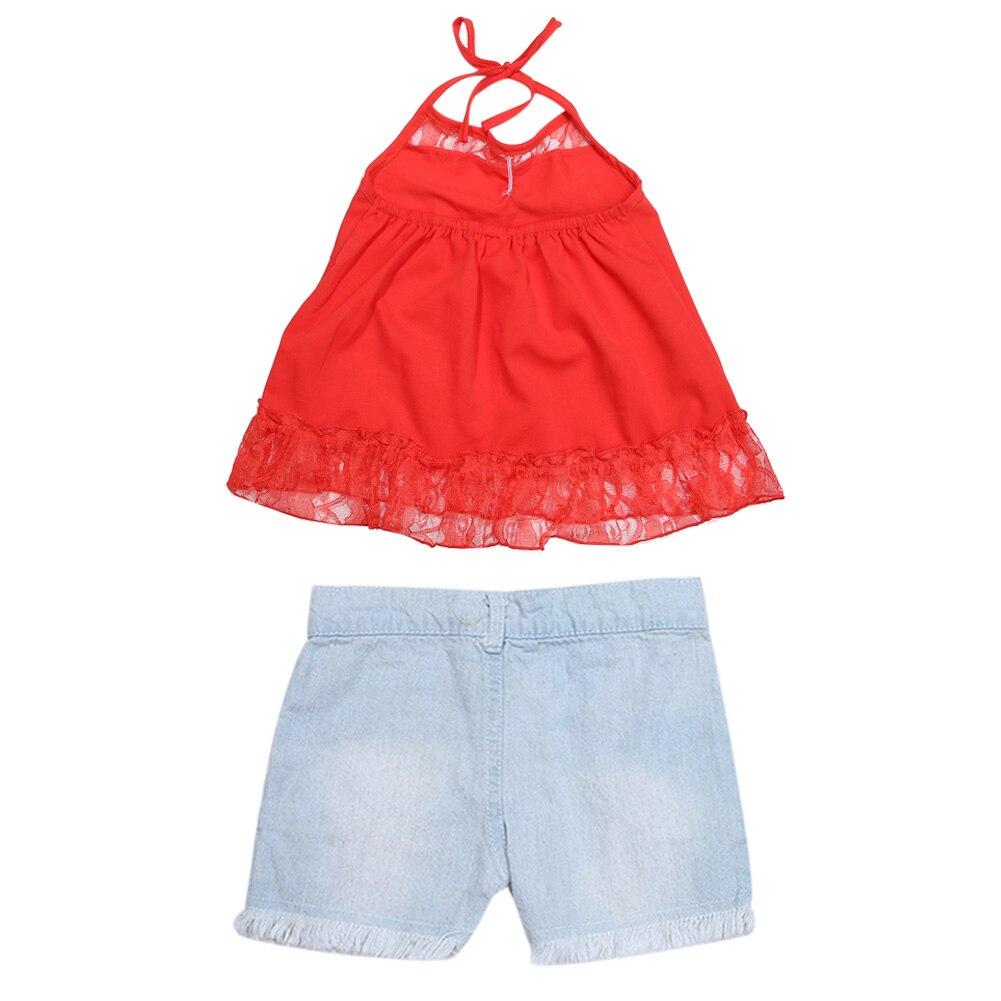 17431bbb5 2pcs set Children Clothing Girls Suits Red Sleeveless Tank Tops ...