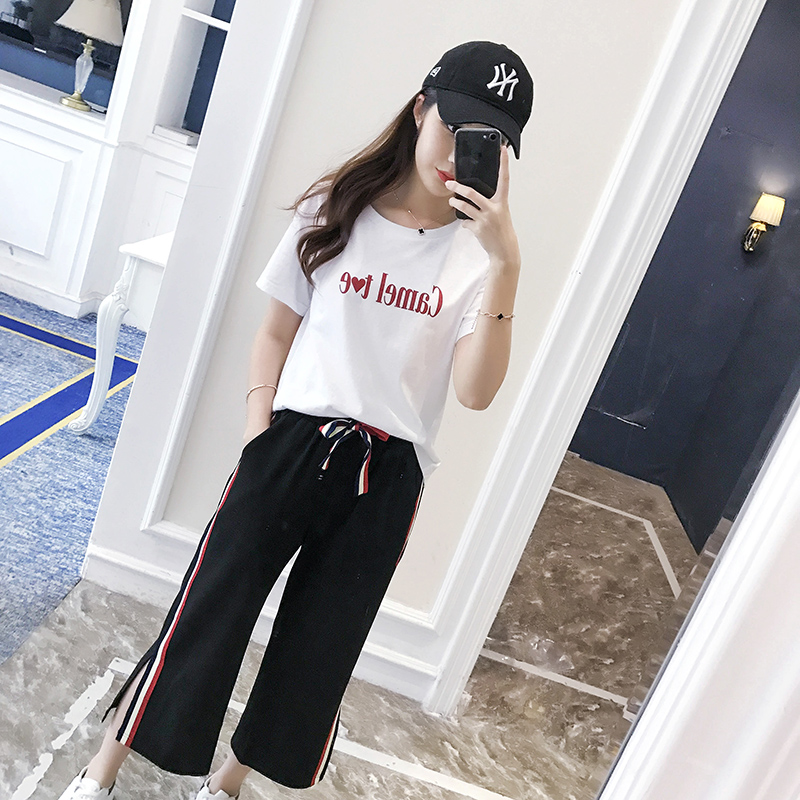 girls clothes 2018 new summer teenage clothing sets t-shirt+pants Student Korean casual two-piece female tide wide leg pants set 2017 autumn girl doll shirt the fashionable two piece set of pure color lotus leaf coat with harness sets tide