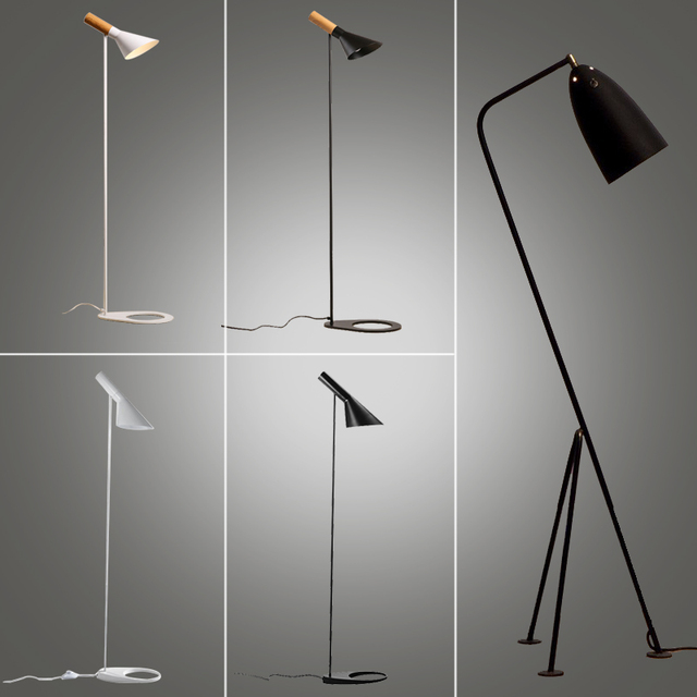 Standing Lamp White Floor Design Loft Stand Black Chrome Light Designer Led Lighting Study