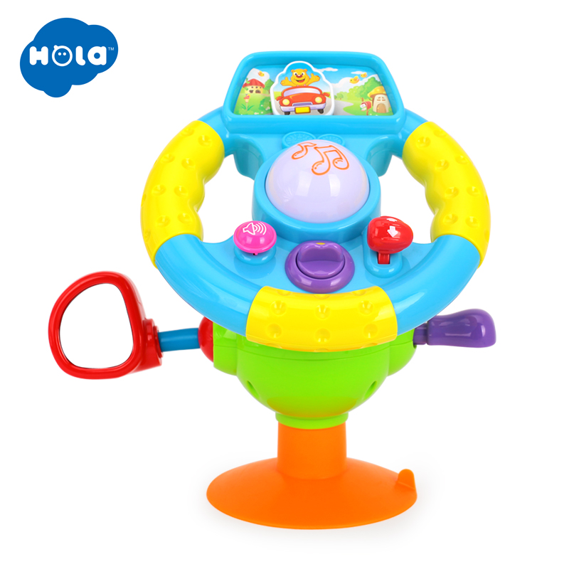 HOLA 916 Baby Toys Driving Steering Wheel & Equipped With Lights, Mirror, Music, Various Driving Sounds Toys For Children