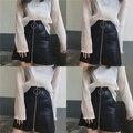 Vintage Big Circle Slim Short Skirt High Waist All-match Leather Skirt