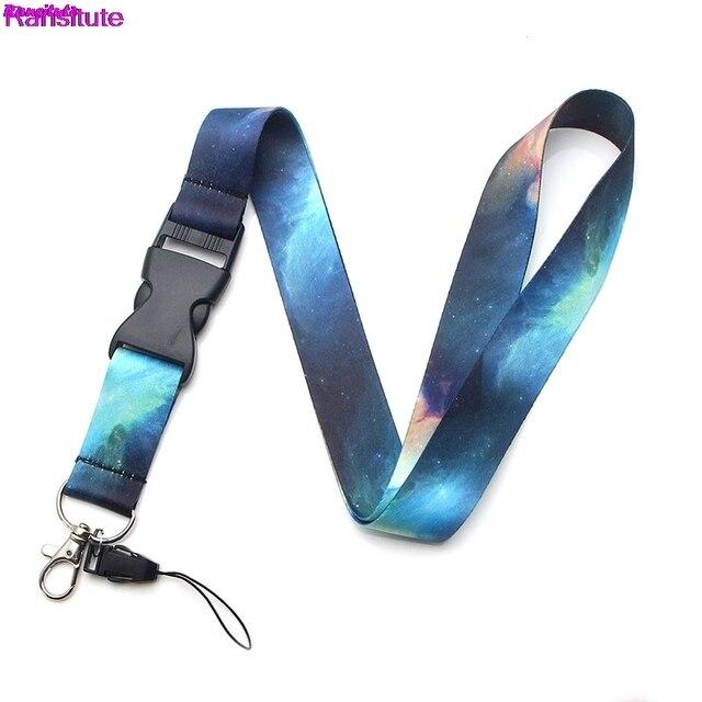 Ransitute cielo estrellado teléfono móvil Correa cuello cordón llave tarjeta ID teléfono móvil soporte USB cinta de cordón
