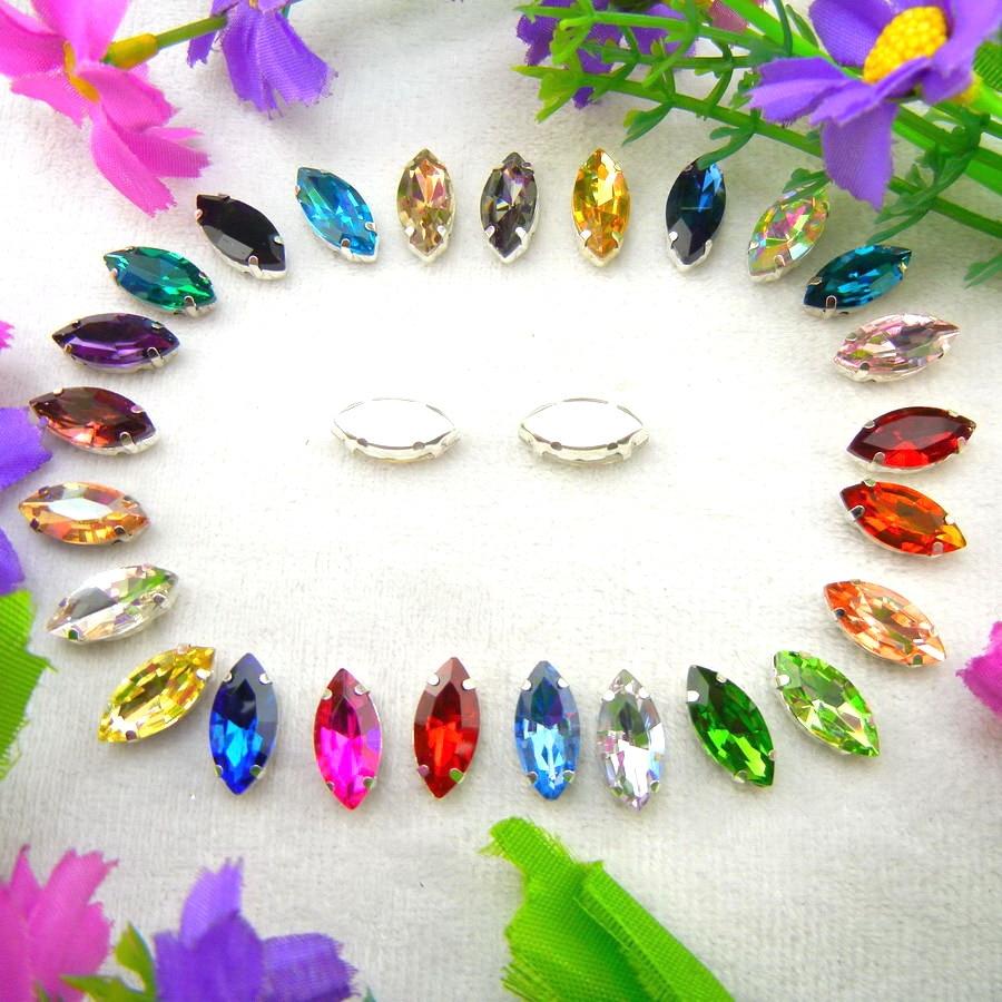 Glas krystal sølv klo indstillinger 8 størrelser fine farver heste - Kunst, håndværk og syning - Foto 2