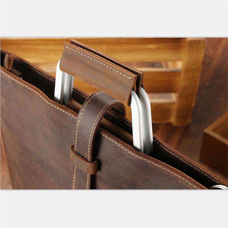 Joyir 2019 Crazy horse mallette en cuir pour homme couleur café vintage hommes véritable sac messenger en cuir sacs d'affaires homme - 5